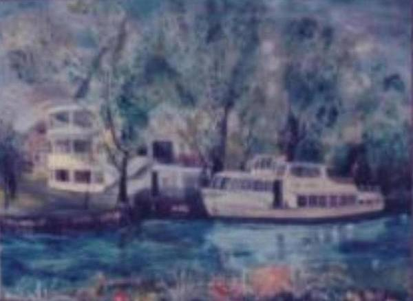 River Cruiseboat On Rhine Germany Swans Art Print featuring the painting Cruiseboat On Rhine River Germany by Alfred P Verhoeven