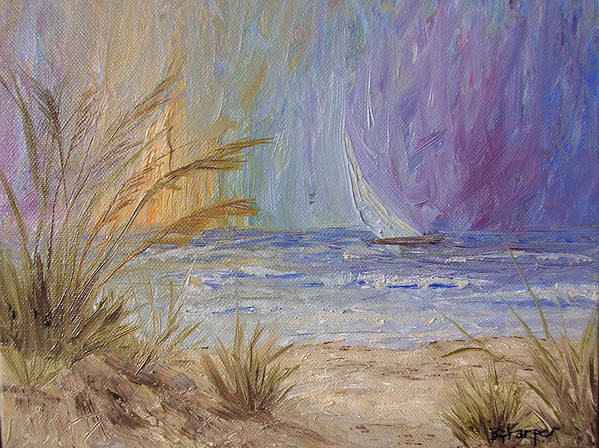 Sailboats Art Print featuring the painting Cruising The Ocean by Barbara Harper
