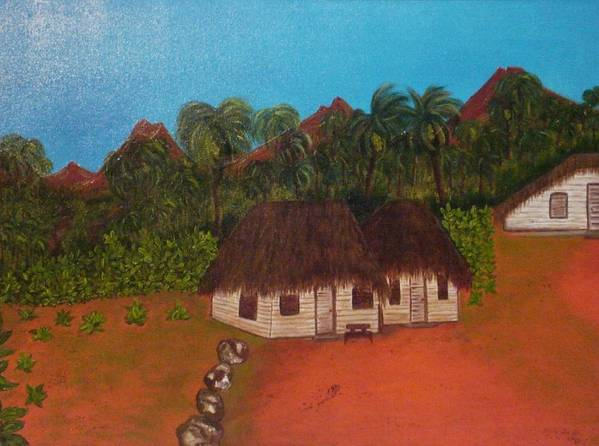 Cuban Fields Art Print featuring the painting Cuban Tobacco Plantation by Ofelia Uz