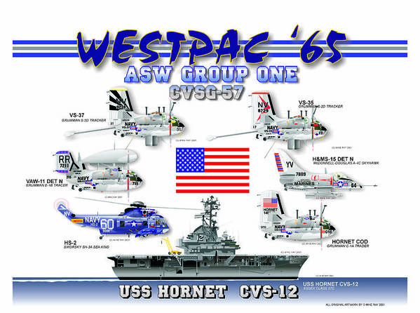 Aviation Art Print featuring the digital art Cvsg-57 And Uss Hornet by Mike Ray