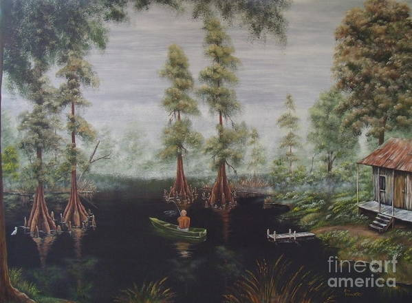 Fishing Art Print featuring the painting Daddy's Fishing Hole by Ann Kleinpeter