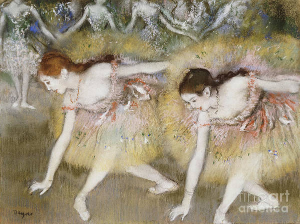 Dancers Bending Down (oil On Canvas) By Edgar Degas (1834-1917) Impressionism; Impressionist; Female; Dancer; Dancing; Dance; Ballet; Ballerina; Tutu; Degas Art Print featuring the painting Dancers Bending Down by Edgar Degas