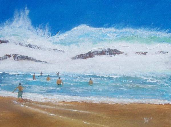 Seascape Art Print featuring the painting Danger No Swimming by Tony Rodriguez