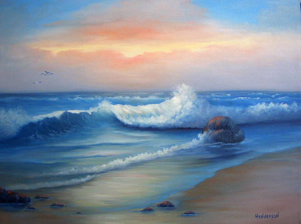 Seascape Art Print featuring the painting Day Break by Francine Henderson