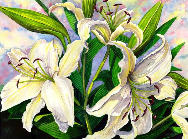 Lily Art Print featuring the painting Daylilies 2 by Catherine G McElroy