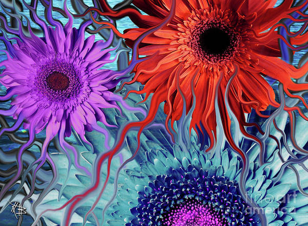 Flower Art Print featuring the painting Deep Water Daisy Dance by Christopher Beikmann