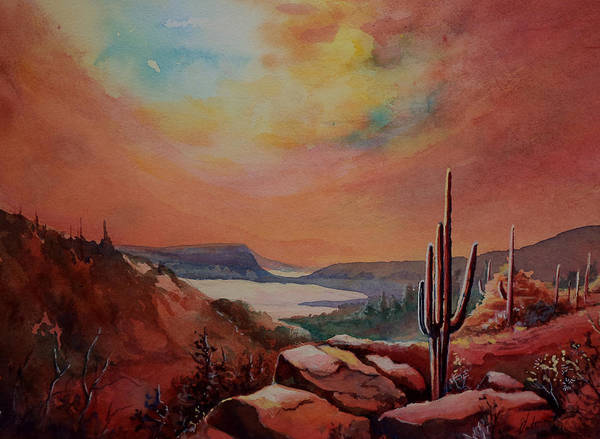 Desert Art Print featuring the painting Desert Oasis by Victoria Wills