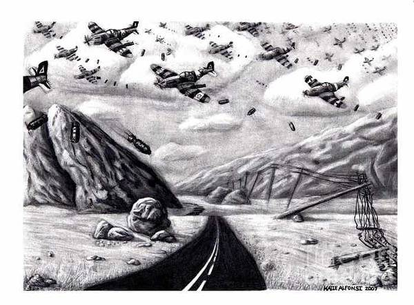 War Art Print featuring the drawing Desolate For Gunshy The Final Piece by Katie Alfonsi