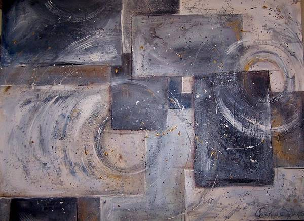 Abstract Art Print featuring the painting Dimensional Disarray Commissioned Sold by Amanda Sanford