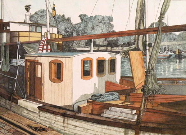 Boat Art Print featuring the mixed media Docked In Stockholm Harbor by Wendy Hill