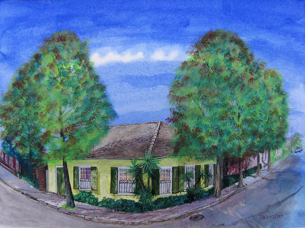 Street Scene Art Print featuring the painting Dolliole Cottage by Tom Hefko
