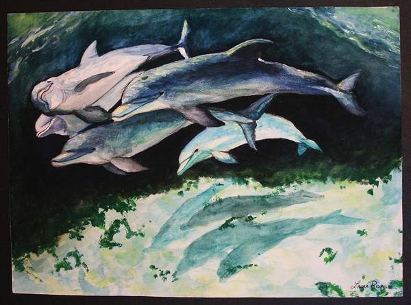Dolphins Art Print featuring the painting Dolphins by Laura Rispoli