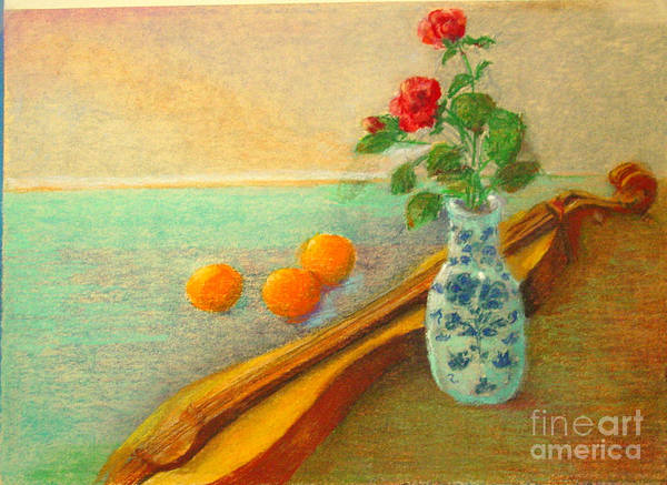Still Life Art Print featuring the painting Dulcimer And Delft    Copyrighted by Kathleen Hoekstra