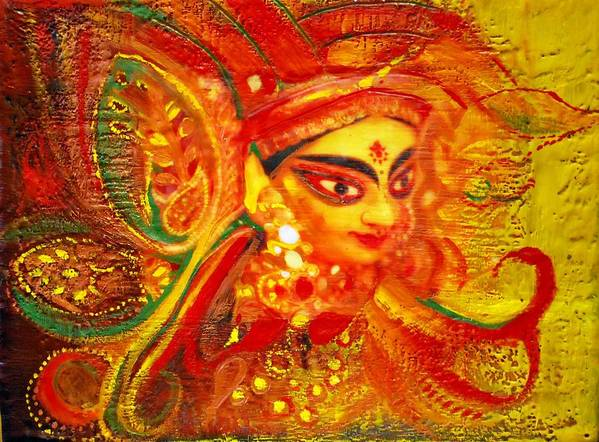 Abstract Art Print featuring the painting Durga by Joya Paul