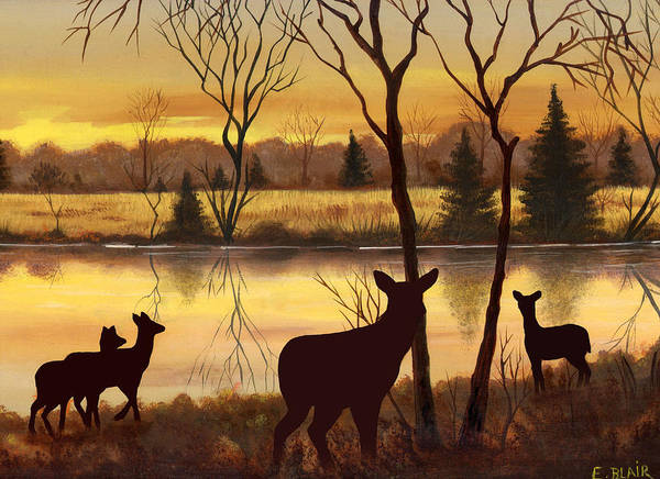Deer Wildlife Landscape Water Woods Sunrise Art Print featuring the painting Early Morning Alert2 by Eileen Blair