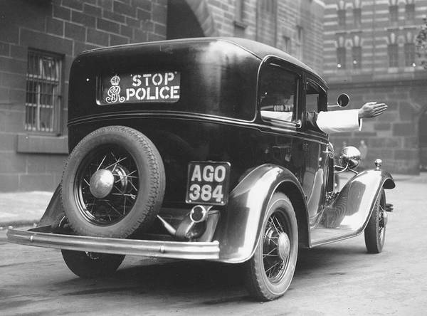 Adults Only Art Print featuring the photograph Early Police Car by Topical Press Agency