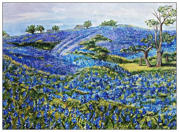 Bluebonnets Art Print featuring the painting East Texas Bluebonnet Sampler by DaiZatx Daisy Undercuffler