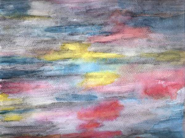 Abstract Print featuring the painting Ebony Rainbow by Mary Zimmerman
