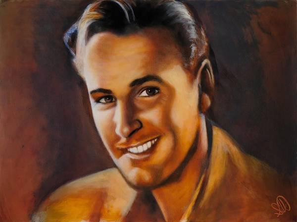 Portrait Art Print featuring the painting Errol Flynn by Elizabeth Silk