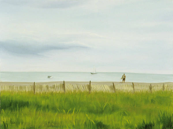 Seascape Art Print featuring the painting Evening At Cape May by Lea Novak