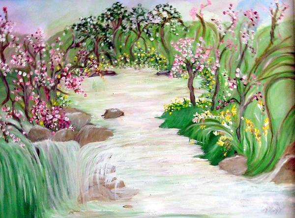 Lanscape Art Print featuring the painting Fairy Blossom Falls by Sherri's - Of Palm Springs
