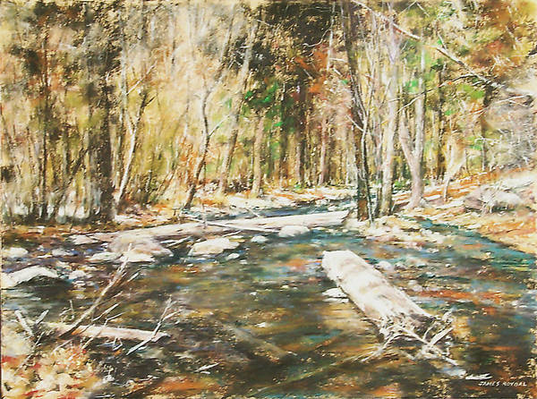 Landscape Art Print featuring the painting Fall Colors by James Roybal