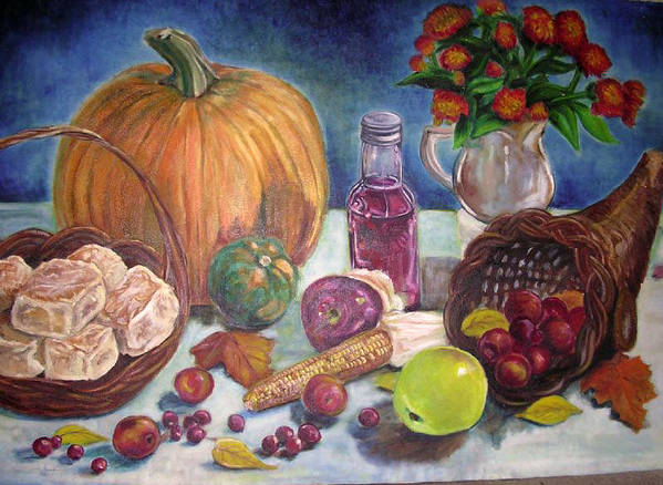 Still Life Impressionist Fruit Flowers Basket Vase Art Print featuring the painting Fall Harvest by Hilary England