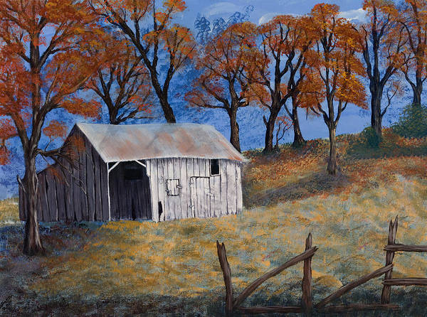 Landscapes Art Print featuring the painting Fall Shed by Julia Ellis