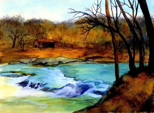 Waterfall Art Print featuring the painting Fallsburg Ky Falls by Gail Kirtz