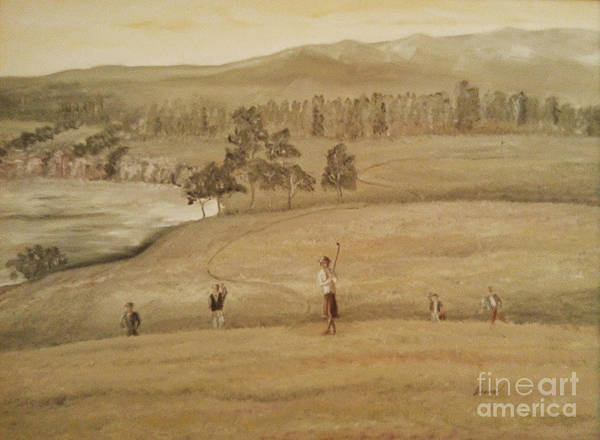 Emi Art Print featuring the painting Family Golf by Emi Varga