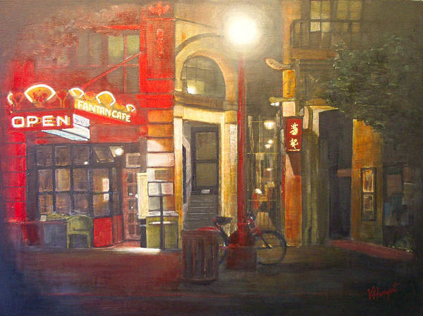 Chinatown Art Print featuring the painting Fan Tan Alley by Victoria Heryet