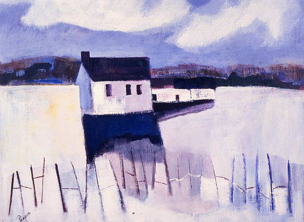 Winter Art Print featuring the painting Farmhouse In Winter by Betty Pieper