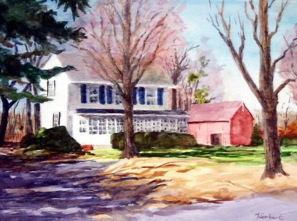 Farmhouse With Red Barn Art Print featuring the painting Farmhouse With Red Barn by Bob Herbert