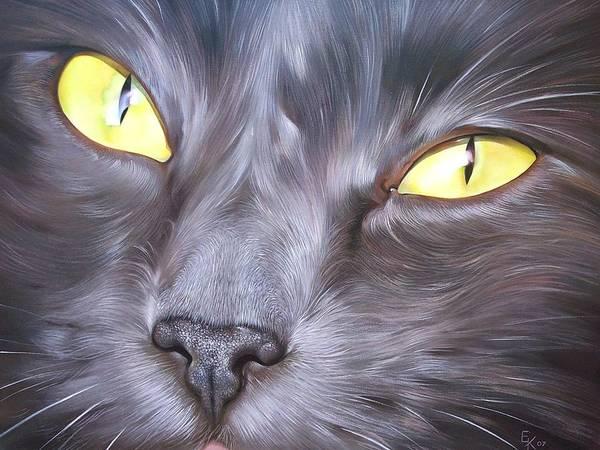Cat Art Print featuring the painting Feline Face 1 by Elena Kolotusha