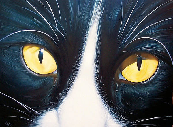 Cat Art Print featuring the painting Feline Face 2 by Elena Kolotusha