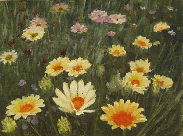 Flower Art Print featuring the painting Field Of Flowers by Lea Novak