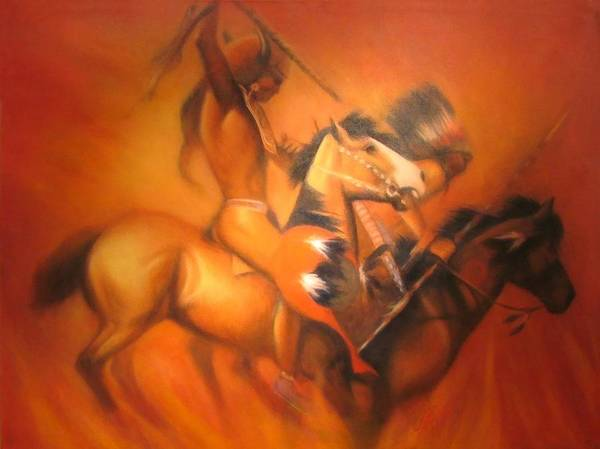 Native American Art Print featuring the painting Fire Riders by Elizabeth Silk