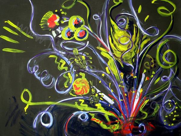 Vines Art Print featuring the painting Fireworks Two by Rebecca Merola