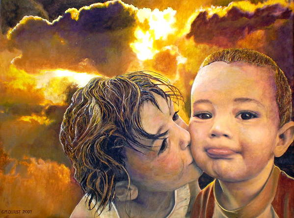 Children Art Print featuring the painting First Kiss by Michael Durst