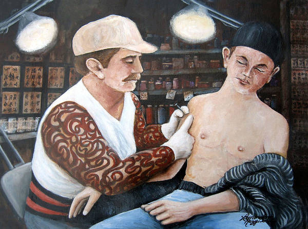 People Art Print featuring the painting First Tattoo by Leonardo Ruggieri
