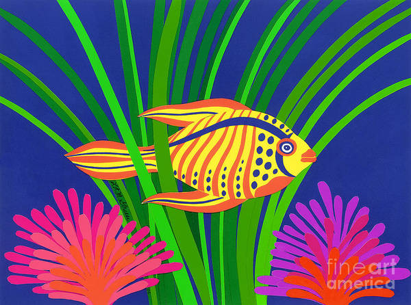 Nature Art Print featuring the drawing Fish by Lucyna A M Green