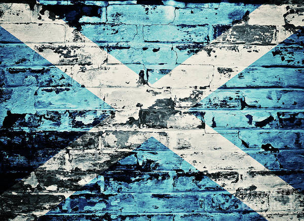Scotland Art Print featuring the photograph flag of Scotland painted on old brick wall by Dan Radi