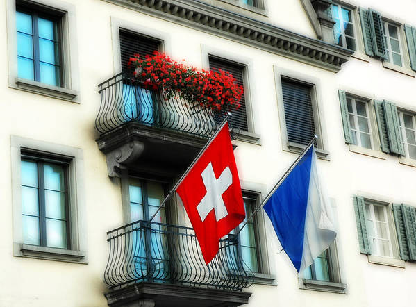 Europe Art Print featuring the photograph Flags Of Switzerland And Zurich by Ginger Wakem