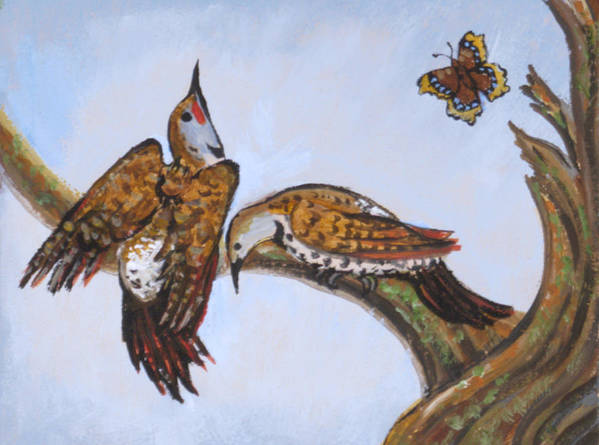 Bird Art Print featuring the painting Flickers Dancing Wild Animal Vignette From River Mural by Dawn Senior-Trask