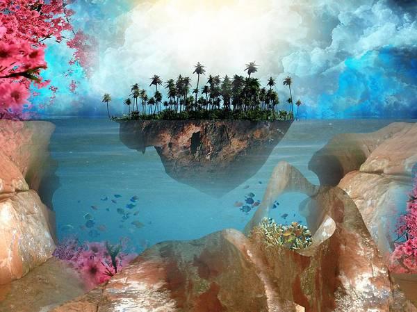 Island Tropical Palm Tree Cloud Pink Cherry Blossom Sandstone Fish Blue Peach Tan Digital Art Photoshop Haystack Rock Fantasy Floating Art Print featuring the digital art Floating Island by Adrienne McMahon
