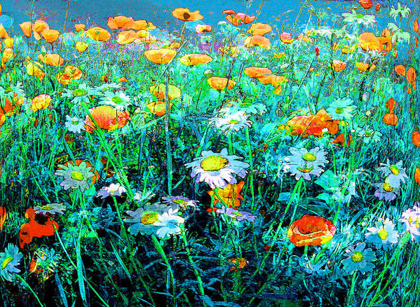 Papaver Art Print featuring the painting Flowerfield by Anne Weirich