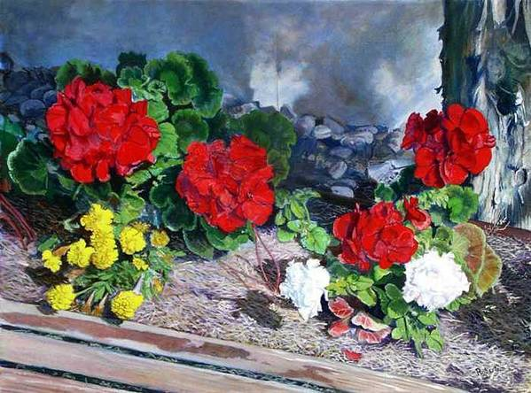 Colorful Flowers Outside Of The Church Art Print featuring the painting Flowers At Church by Scott Robertson