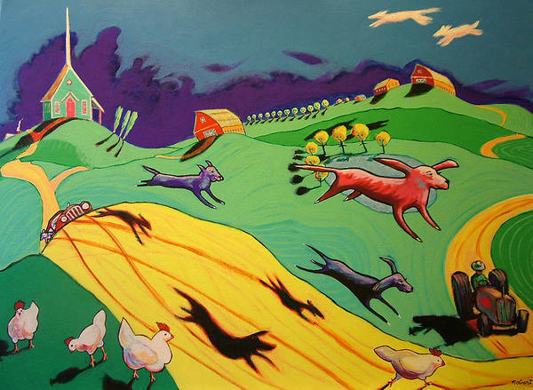 Story Landscape Dogs Art Print featuring the painting Flying Dog Farm by Robert Tarr