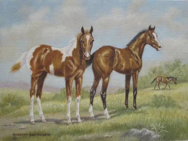 Art Print featuring the painting Foals In Pasture by Dorothy Coatsworth