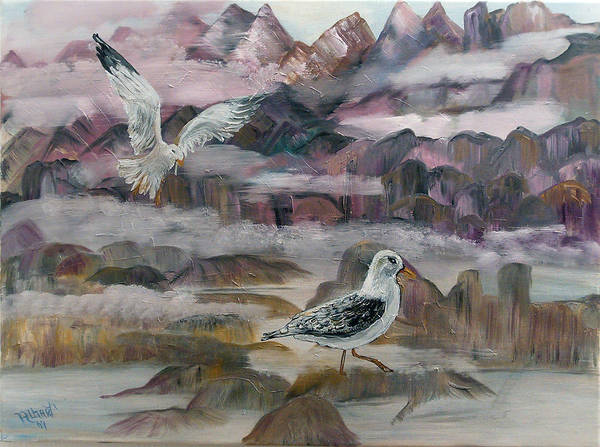 Seagulls Art Print featuring the painting Foggy Gulls by Mikki Alhart